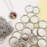 20 Pack Bottle Cap Pendants w/ Krystal Clear-Itz Covers + 20 Ball Chains