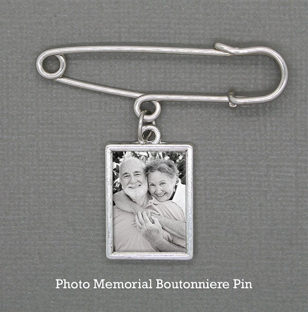 Wedding Boutonniere Memorial Photo Charm w/ Pin Kit