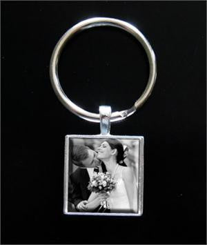 Makes 10 Instant Square Photo Jewelry Keychain Kit 1 Inch - Photo Jewelry Making