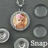 Changeable Snap In Photo Jewelry Rhinestone Pendant Necklace Kit