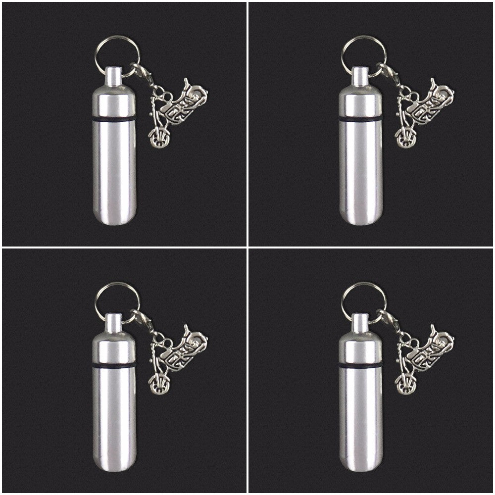 Four Pack Motorcycle Biker Charm Memorial Ashes Holder Urn Vial Key Chain