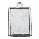 Mini Antiqued Rectangle Double Sided  Dangling Photo Charm  3/4 inch - Photo Jewelry Making