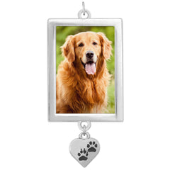EZ Change Pet Memorial Or Bouquet Charm Dog or Cat w/ Dangling Paw Charm