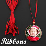 10 Pack Festive Red Ribbon Christmas Decoration Ornament Hangers - Photo Jewelry Making
