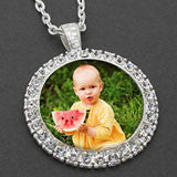 Silver Rhinestone Photo Necklace Set