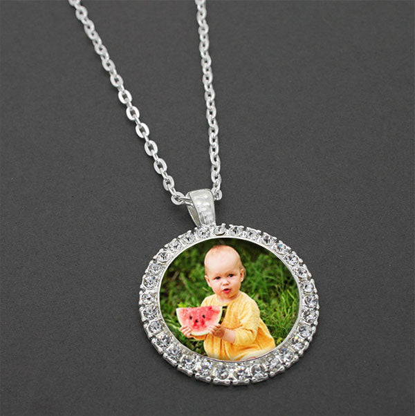 Silver Rhinestone Photo Necklace Set - Photo Jewelry Making