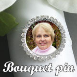 Silver Rhinestone Wedding Photo Pin For Bouquet Or Boutonniere Photo Jewelry