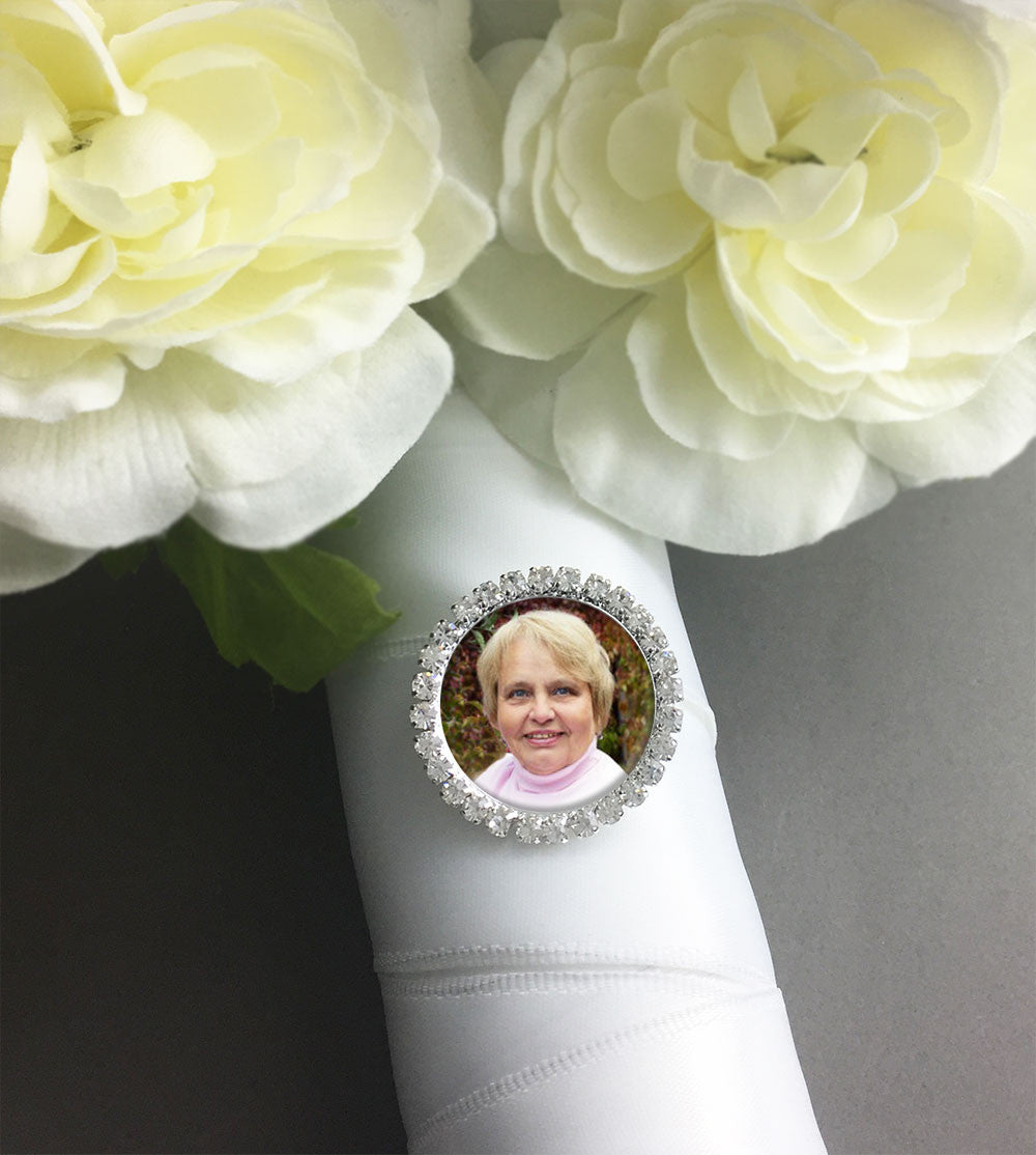 Silver Rhinestone Wedding Photo Pin For Bouquet Or Boutonniere
