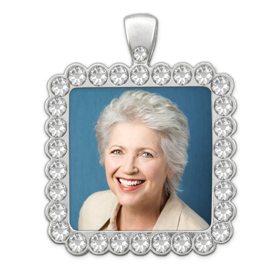 Rhinestone Square Wedding Bouquet Photo Charm