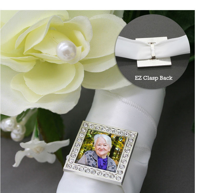 Square Rhinestone Photo Bouquet Charm w/ EZ Ribbon Clasp