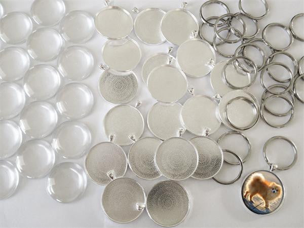 20 Pack Jumbo Round Photo Key Chain Blanks Supplies Pack