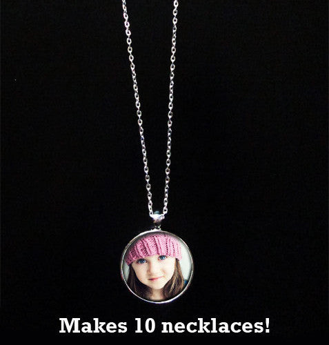 Instant Glass Photo Jewelry Necklace Kit 1 Inch Makes 10 w/ Link Chains
