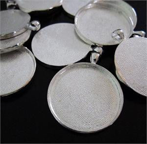 10 Pack 38mm Round Circle Pendants Silver No Glass