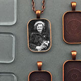 20 Pack Rounded Edge Copper 20x30mm Rectangle Photo Jewelry Pendants w/ Glass and Link Chains