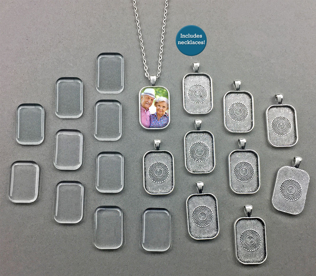 20 Pack Rounded Edge Antique Silver 20x30mm Rectangle Photo Jewelry Pendants w/ Glass and Link Chains