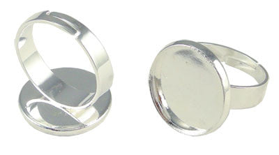 10 Pack 16mm Silver Circle Photo Ring Blanks Adjustable