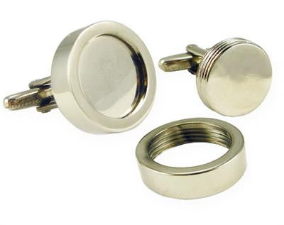 Grooms Easy Change Heavy Weight Circle Photo Cufflinks Kit