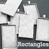 10 pack 2 inch Rectangle Photo Jewelry Pendant W/ Krystal Clear-itz Epoxy Covers Silver