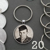 Round 30mm Silver Photo Keychain Supplies Pack Makes 20