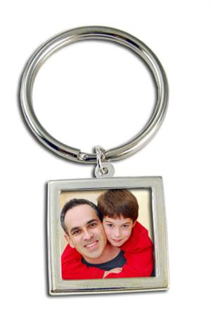 Large Silver Photo Keychain Blank EZ Change Square - Photo Jewelry Making