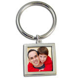 Large Silver Photo Keychain Blank EZ Change Square