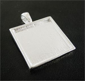 Shallow  Sterling Silver Plated Photo Pendant Setting Made In USA
