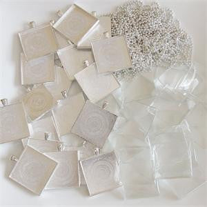 20 Pack Jumbo Square Photo Pendants w/ Glass + Ball Chains - Photo Jewelry Making