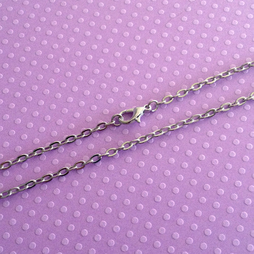 24 inch Soft Silver Necklace Link Chain w/ Lobster Clasp Photo Jewelry