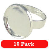 16mm Silver Circle Photo Ring Blank  - Adjustable 10 Pack