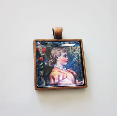 20 Copper Square Photo Pendants w/ Glass 25mm