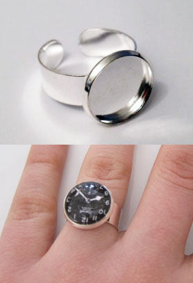Wide Band Silver Photo Ring w/ Glass Dome