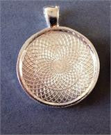 50 Round Silver Photo Pendant Setting 1 Inch Photo Area