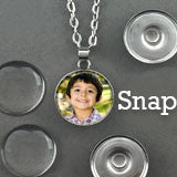 Changeable Snap In Photo Jewelry Pendant Necklace Kit Photo Jewelry