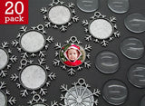20 pack Antique Silver Snowflake Photo Christmas Ornament Decoration Blank 1 Inch Photo Area - Photo Jewelry Making