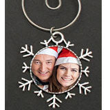 Silver Snowflake Photo Christmas Ornament