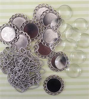 10 Pack Round Antique Silver Spiral Glass Photo Pendants w/ Ball Chains