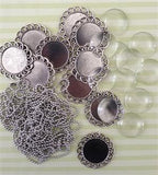 10 Pack Round Antique Silver Spiral Glass Photo Pendants w/ Ball Chains Photo Jewelry