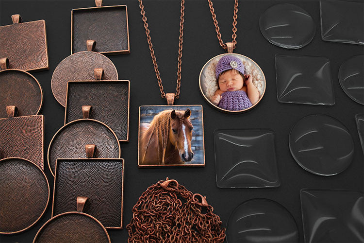 20 Pack Large Copper Square and Circle Photo Jewelry Pendants w/ Glass 1 1/4 inch and Link Chains Variety