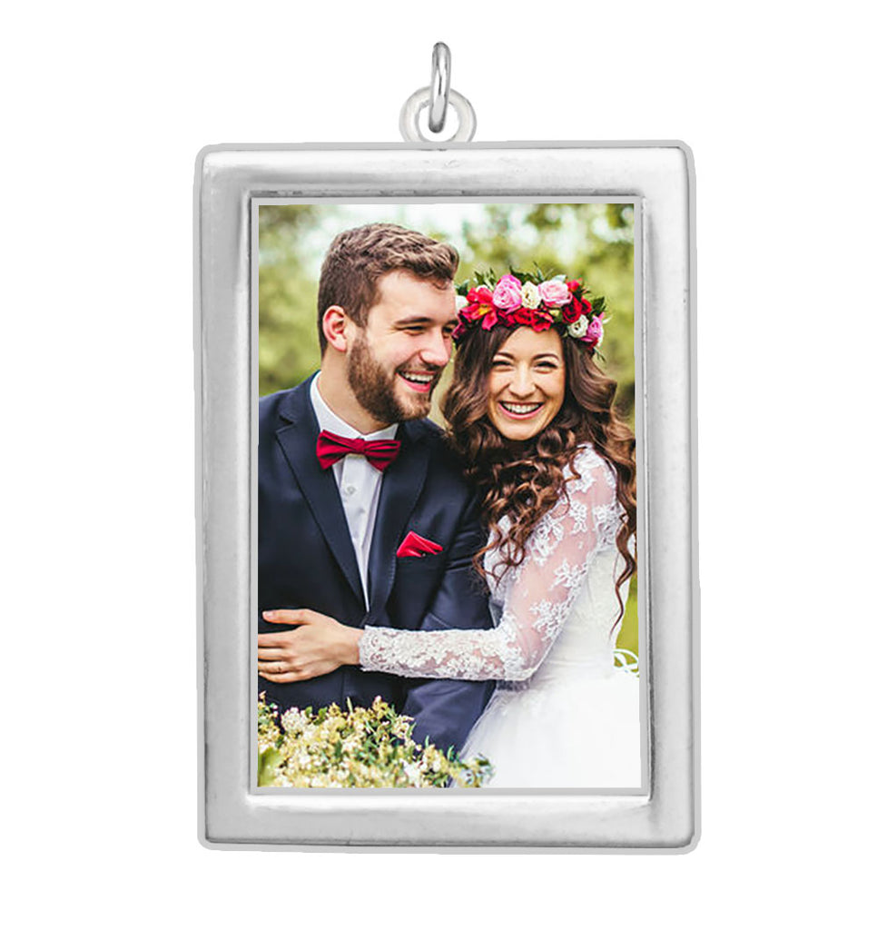 Large Rectangle EZ Change Photo Charm Silver Plated Rectangle Double Sided
