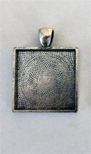 20 Pack Square Photo Jewelry Pendants 1 Inch Antique Silver No Glass Photo Jewelry