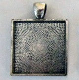 20 Pack Square Photo Jewelry Pendants 1 Inch Antique Silver No Glass