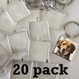 Large Square 35mm Photo Keychain Supplies Pack Makes 20