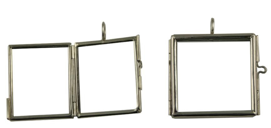 Glass Memorial Locket Square for Photos Soldered