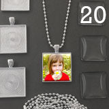 20 Pack One Inch Square Photo Pendants w/ Glass + 20 Ball Chains