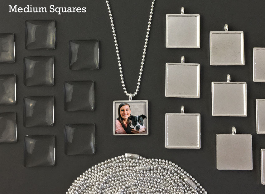 20mm Square Glass Photo Pendants & Mini Ball Chain Necklaces Supply Pack