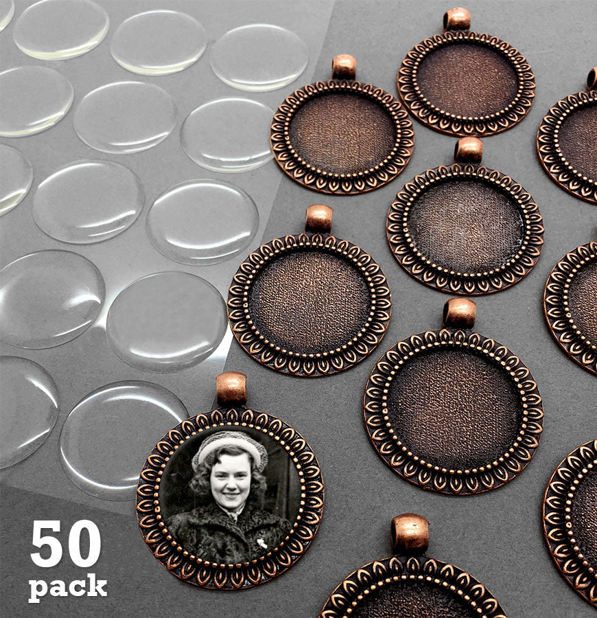 50 Pack Copper Sunflower Frame Photo Charms w/ Krystal Clear-Itz Covers 25mm 1 Inch