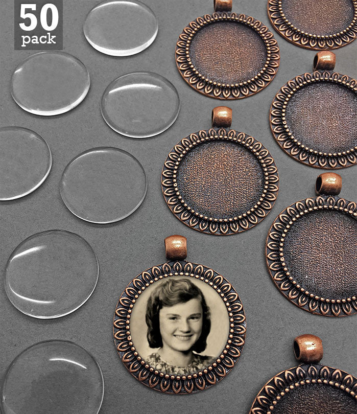 50 Pack Copper Sunflower Frame Photo Charms w/ Glass 25mm 1 Inch