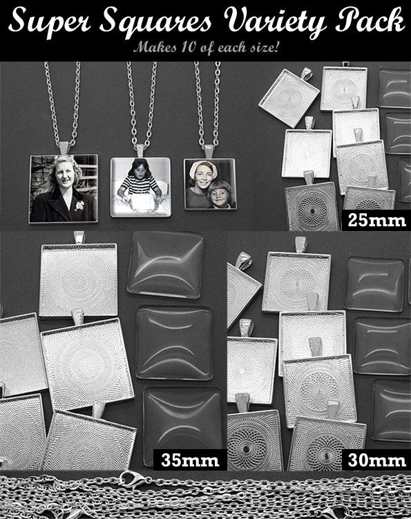 30 Pack Super Squares Photo Jewelry Pendant Variety Home Business Kit 3 Sizes! Photo Jewelry