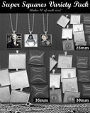 30 Pack Super Squares Photo Jewelry Pendant Variety Home Business Kit 3 Sizes! - Photo Jewelry Making