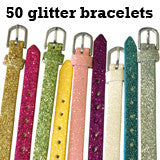 50 Pack Glitter Slide On Charm Strap Bracelets 8mm Wide